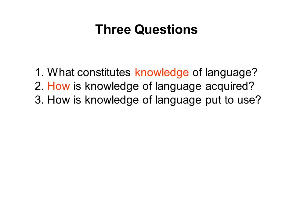 Three Questions 1. What constitutes knowledge of language.
