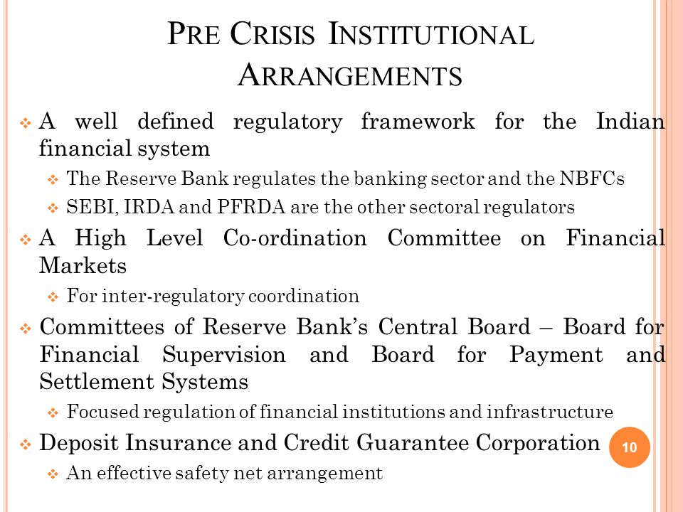 P RE C RISIS I NSTITUTIONAL A RRANGEMENTS  A well defined regulatory framework for the Indian financial system  The Reserve Bank regulates the banking sector and the NBFCs  SEBI, IRDA and PFRDA are the other sectoral regulators  A High Level Co-ordination Committee on Financial Markets  For inter-regulatory coordination  Committees of Reserve Bank's Central Board – Board for Financial Supervision and Board for Payment and Settlement Systems  Focused regulation of financial institutions and infrastructure  Deposit Insurance and Credit Guarantee Corporation  An effective safety net arrangement 10