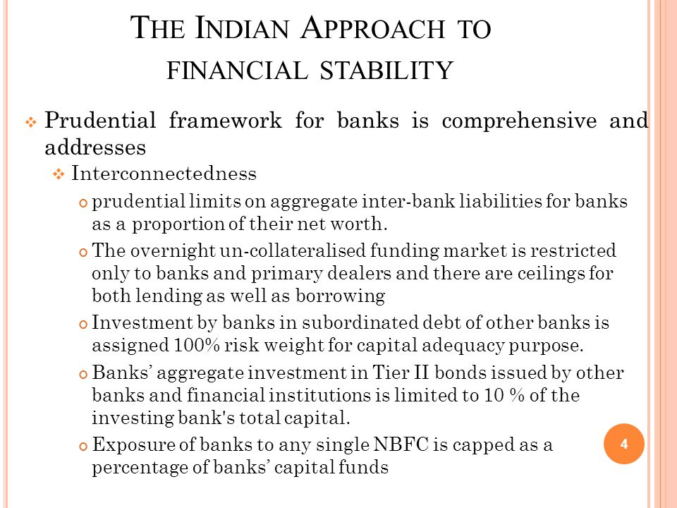 T HE I NDIAN A PPROACH TO FINANCIAL STABILITY  Prudential framework for banks is comprehensive and addresses  Interconnectedness prudential limits on aggregate inter-bank liabilities for banks as a proportion of their net worth.