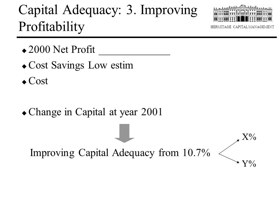 HERMITAGE CAPITAL MANAGEMENT Capital Adequacy: 3. Improving Profitability u 2000 Net Profit _____________ u Cost Savings Low estim u Cost u Change in