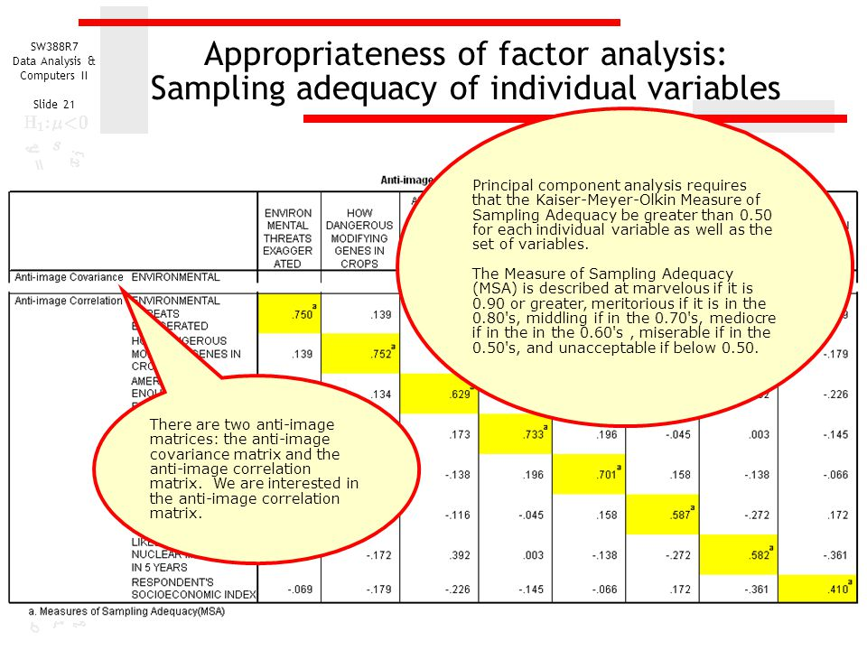 SW388R7 Data Analysis & Computers II Slide 21 Appropriateness of factor analysis: Sampling adequacy of individual variables Principal component analys