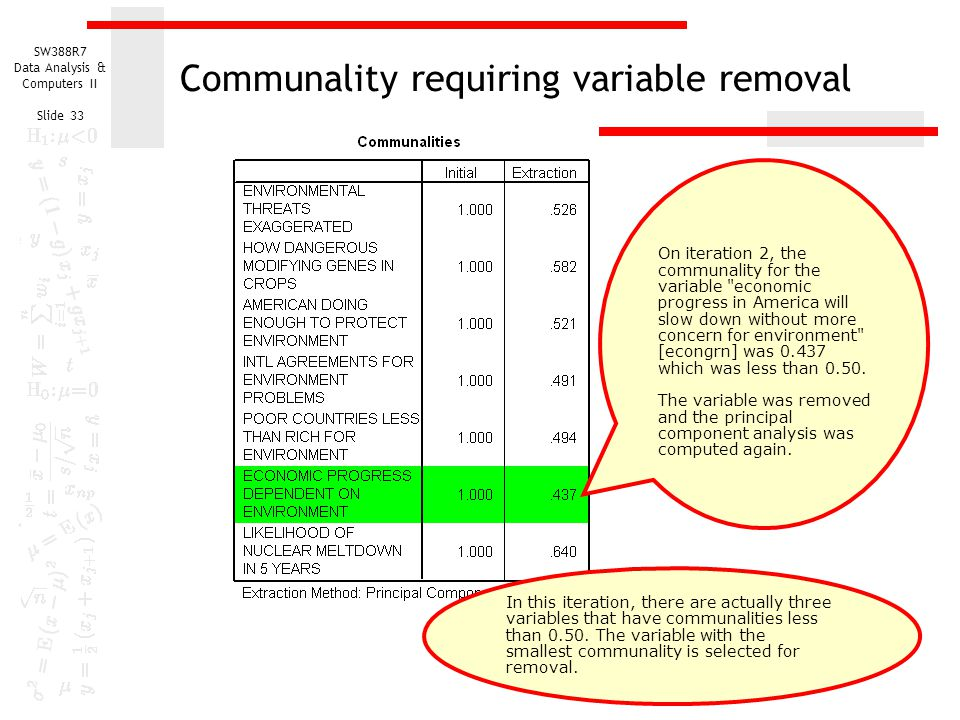 SW388R7 Data Analysis & Computers II Slide 33 Communality requiring variable removal On iteration 2, the communality for the variable