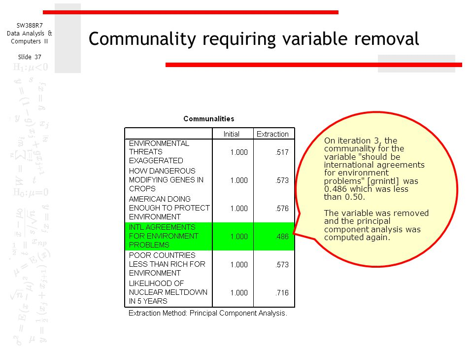SW388R7 Data Analysis & Computers II Slide 37 Communality requiring variable removal On iteration 3, the communality for the variable