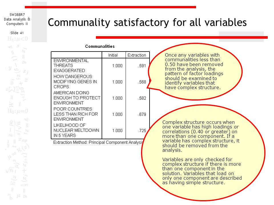 SW388R7 Data Analysis & Computers II Slide 41 Communality satisfactory for all variables Complex structure occurs when one variable has high loadings
