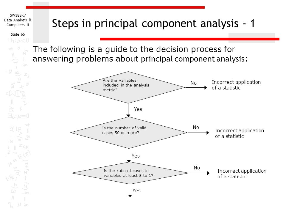 SW388R7 Data Analysis & Computers II Slide 65 Steps in principal component analysis - 1 The following is a guide to the decision process for answering