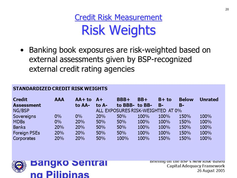 Bangko Sentral ng Pilipinas Supervision and Examination Sector Briefing on the BSP's New Risk-Based Capital Adequacy Framework 26 August 2005 20 Credi