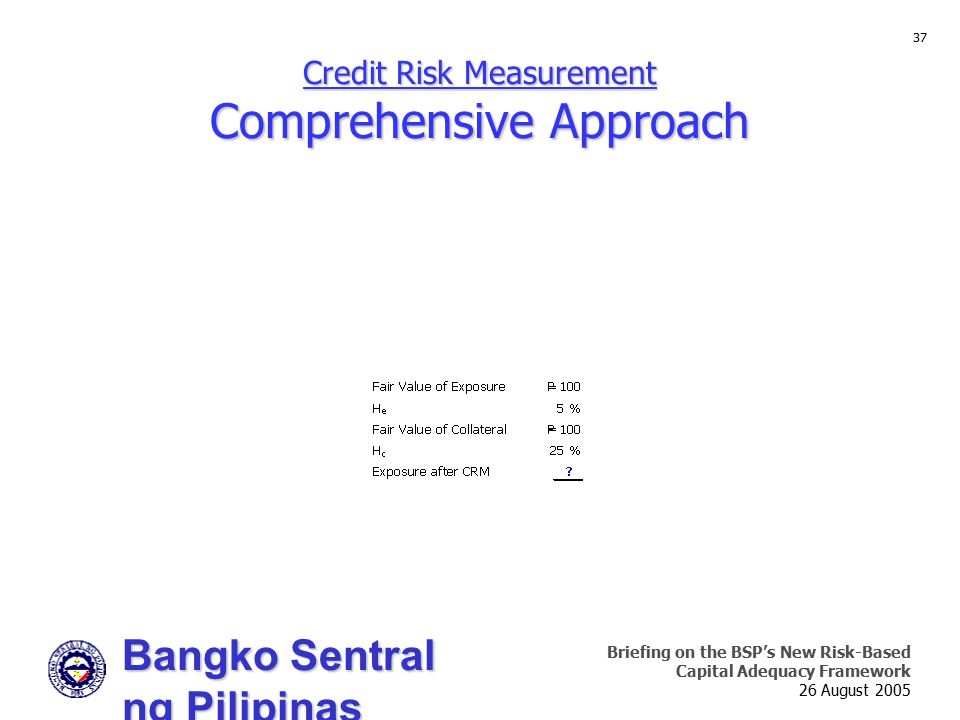 Bangko Sentral ng Pilipinas Supervision and Examination Sector Briefing on the BSP's New Risk-Based Capital Adequacy Framework 26 August 2005 37 Credi