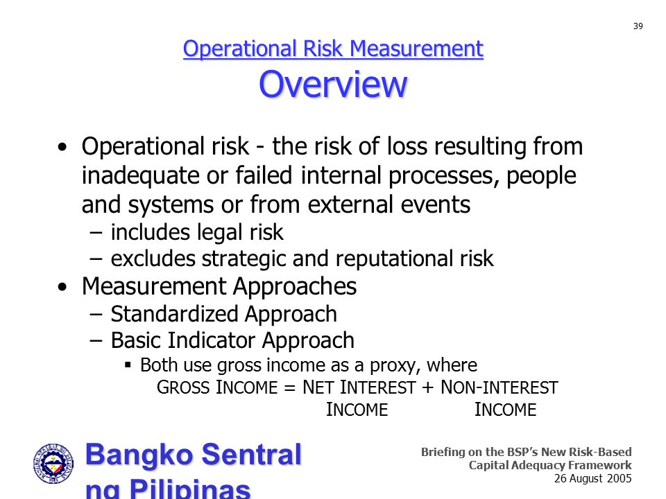 Bangko Sentral ng Pilipinas Supervision and Examination Sector Briefing on the BSP's New Risk-Based Capital Adequacy Framework 26 August 2005 39 Opera