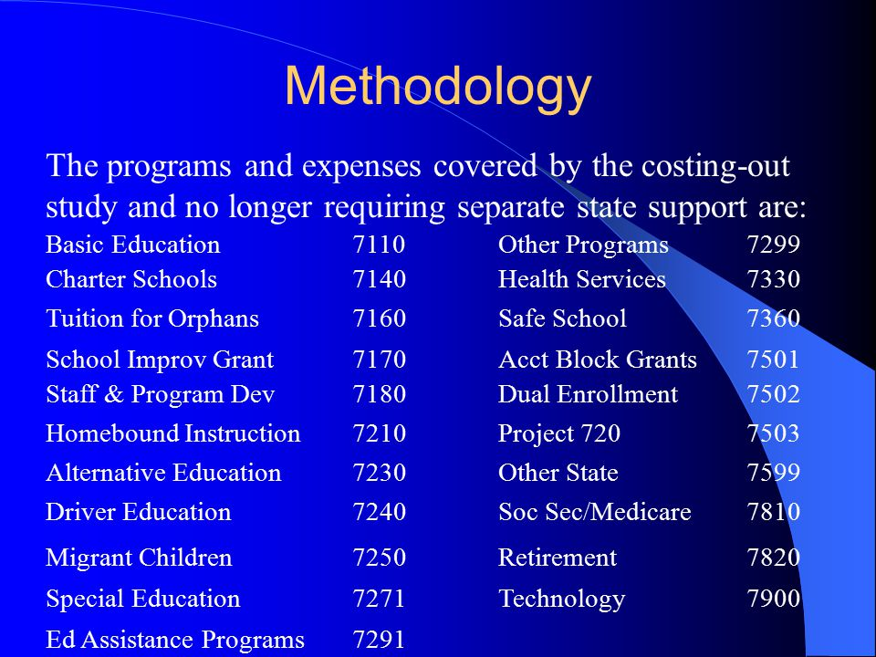 Methodology The programs and expenses covered by the costing-out study and no longer requiring separate state support are: Basic Education7110Other Programs7299 Charter Schools7140Health Services7330 Tuition for Orphans7160Safe School7360 School Improv Grant7170Acct Block Grants7501 Staff & Program Dev7180Dual Enrollment7502 Homebound Instruction7210Project 7207503 Alternative Education7230Other State7599 Driver Education7240Soc Sec/Medicare7810 Migrant Children7250Retirement7820 Special Education7271Technology7900 Ed Assistance Programs7291