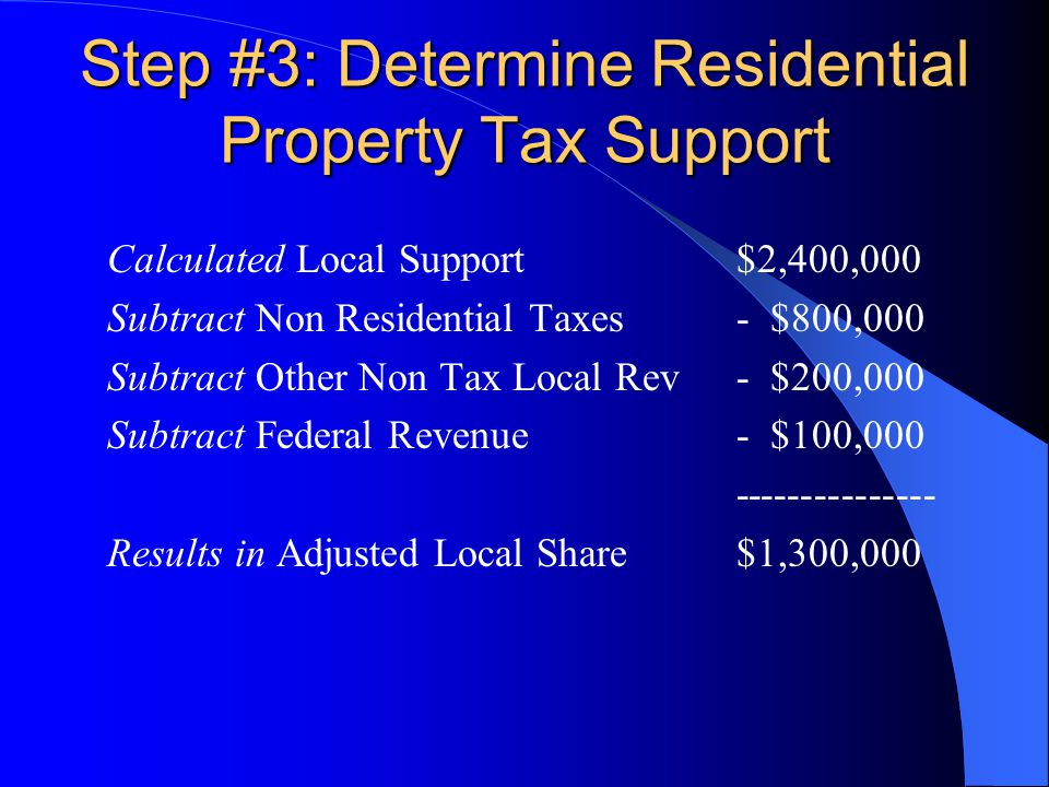 Step #3: Determine Residential Property Tax Support Calculated Local Support$2,400,000 Subtract Non Residential Taxes- $800,000 Subtract Other Non Tax Local Rev- $200,000 Subtract Federal Revenue - $100,000 --------------- Results in Adjusted Local Share $1,300,000