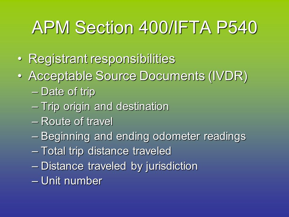 APM Section 400/IFTA P540 Registrant responsibilitiesRegistrant responsibilities Acceptable Source Documents (IVDR)Acceptable Source Documents (IVDR)
