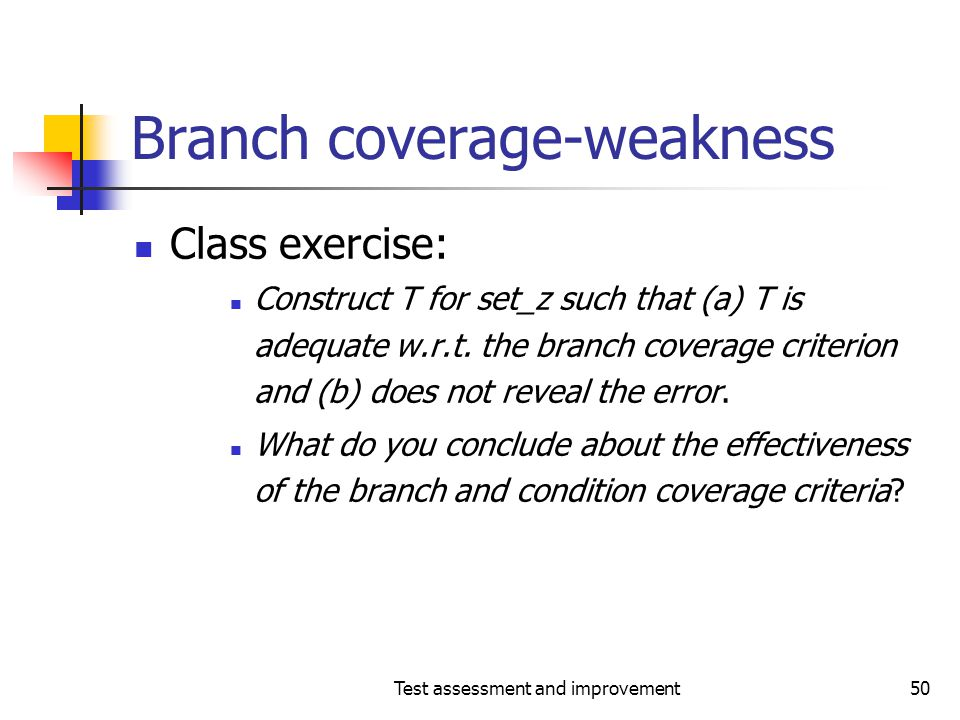 Test assessment and improvement50 Branch coverage-weakness Class exercise: Construct T for set_z such that (a) T is adequate w.r.t. the branch coverag