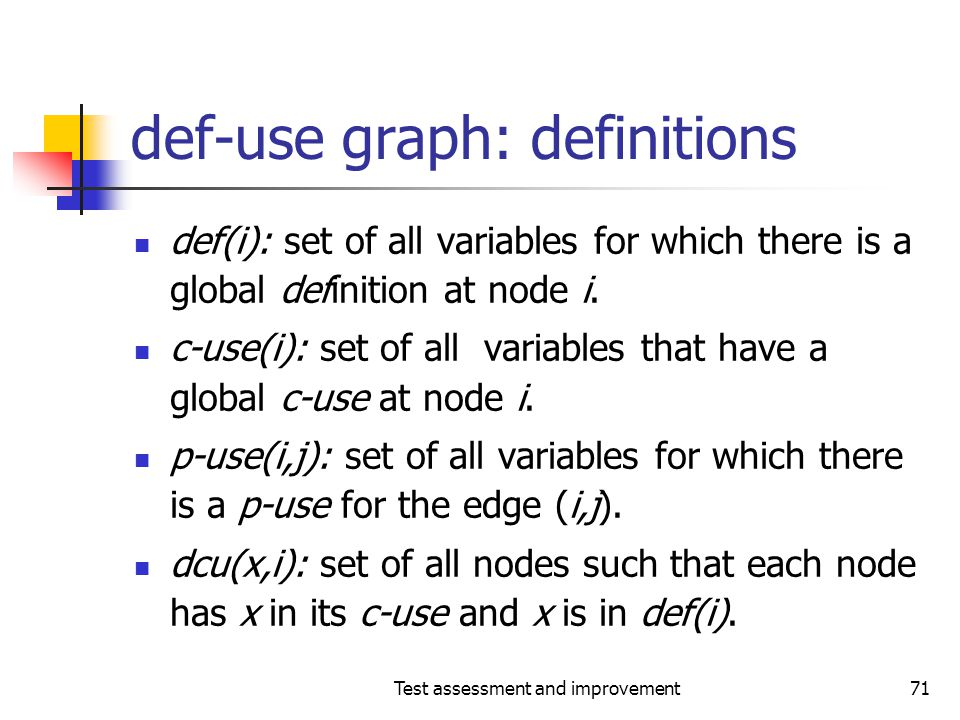 Test assessment and improvement71 def-use graph: definitions def(i): set of all variables for which there is a global definition at node i. c-use(i):