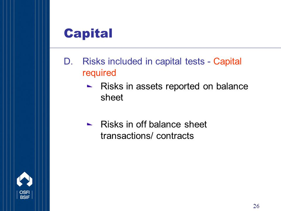 26 Capital D.Risks included in capital tests - Capital required Risks in assets reported on balance sheet Risks in off balance sheet transactions/ contracts