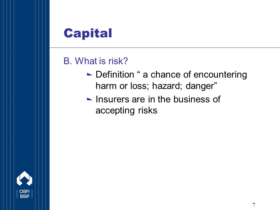 7 B. What is risk.