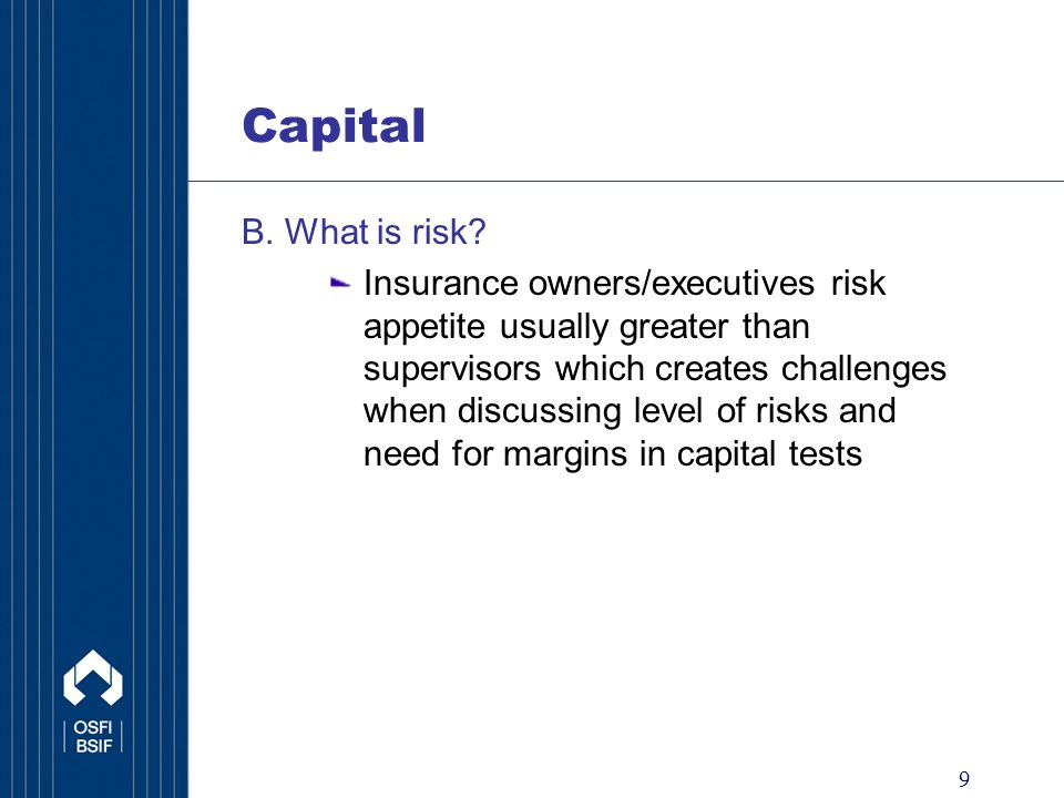 9 Capital B. What is risk.