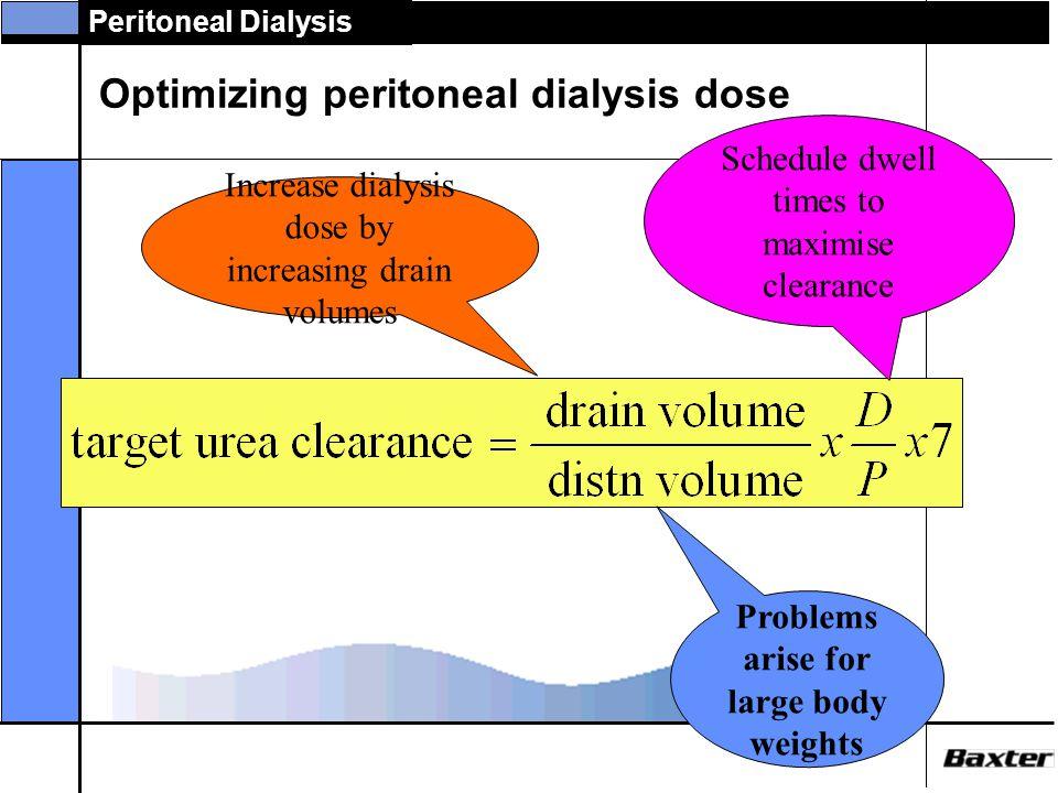 Peritoneal Dialysis A standard patient? 2.0 10 l 35l 1.0 = 0.286 x 7 = 2.0