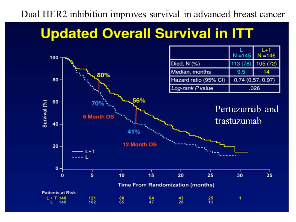 Dual HER2 inhibition improves survival in advanced breast cancer Pertuzumab and trastuzumab