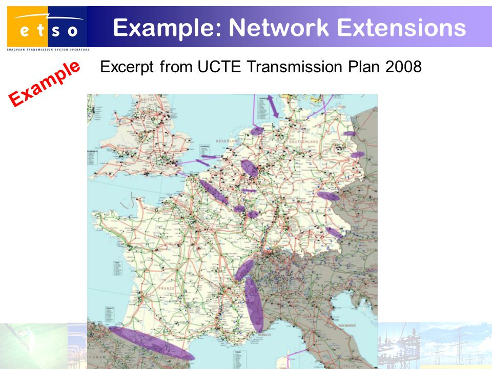 15 Example: Network Extensions Excerpt from UCTE Transmission Plan 2008 Example