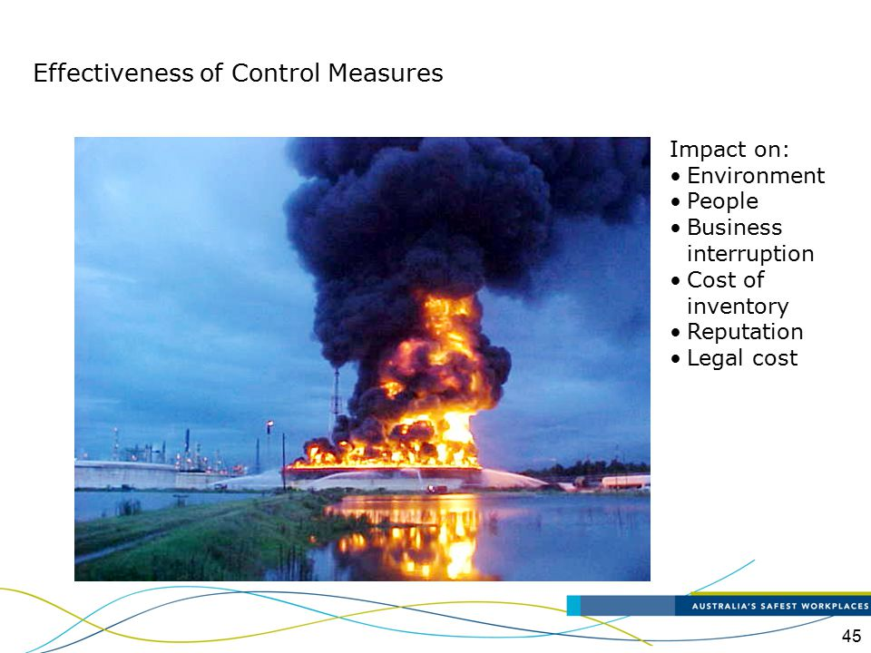 45 Impact on: Environment People Business interruption Cost of inventory Reputation Legal cost Effectiveness of Control Measures