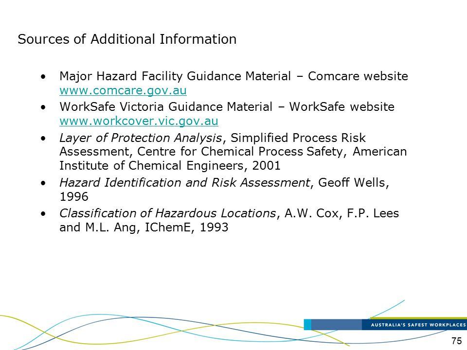 75 Major Hazard Facility Guidance Material – Comcare website www.comcare.gov.au www.comcare.gov.au WorkSafe Victoria Guidance Material – WorkSafe webs
