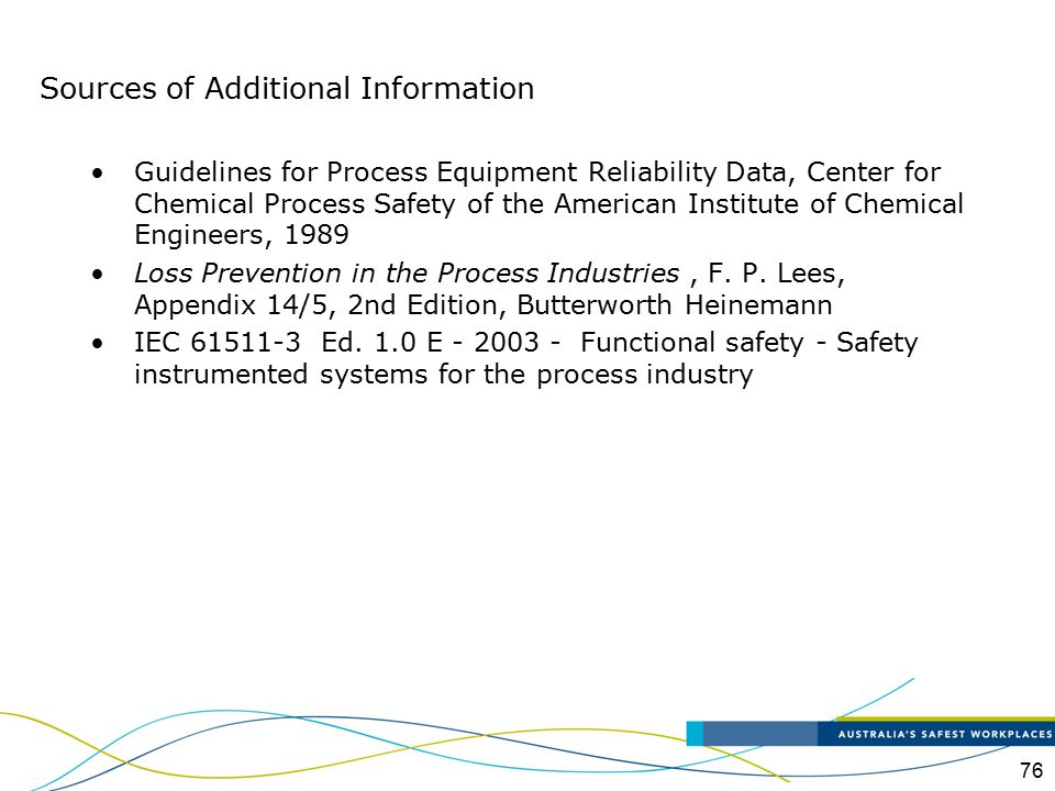 76 Guidelines for Process Equipment Reliability Data, Center for Chemical Process Safety of the American Institute of Chemical Engineers, 1989 Loss Pr