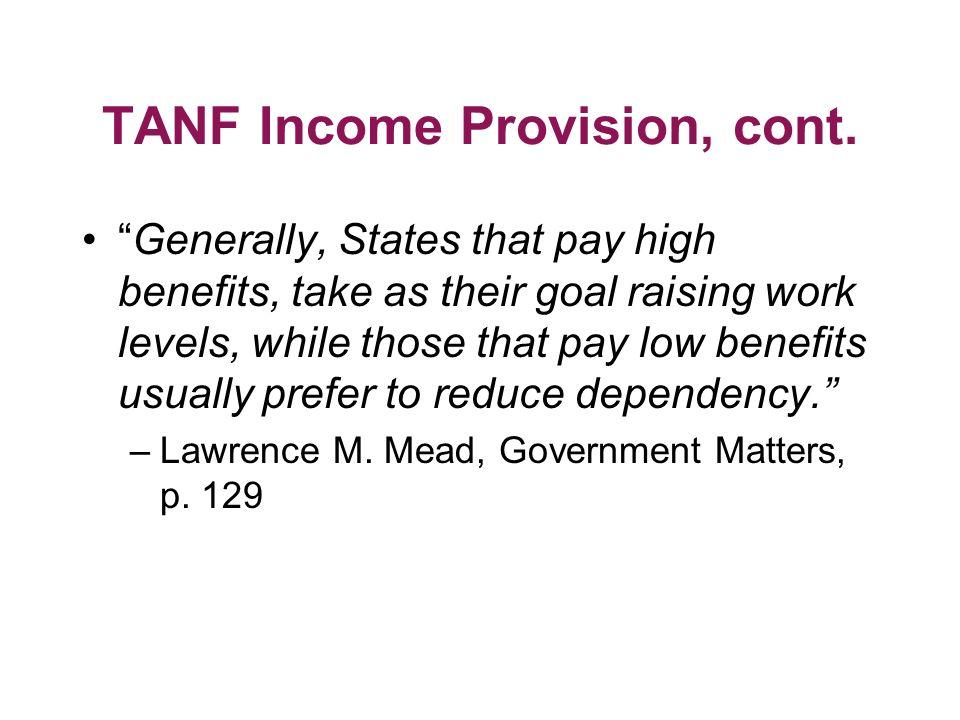 TANF Income Provision, cont.