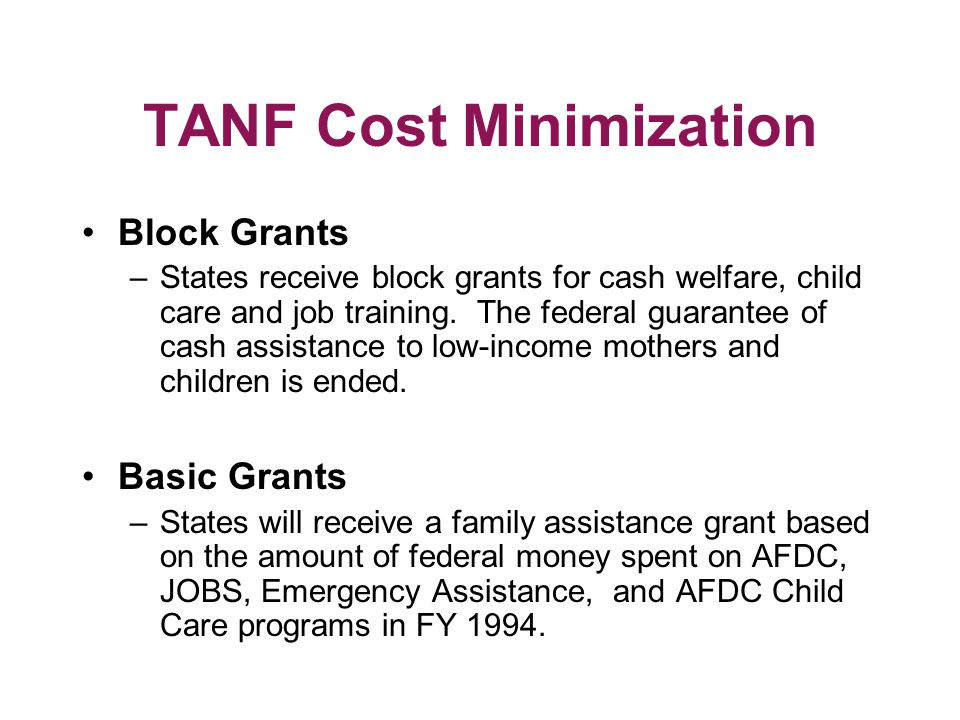 TANF Cost Minimization Block Grants –States receive block grants for cash welfare, child care and job training.