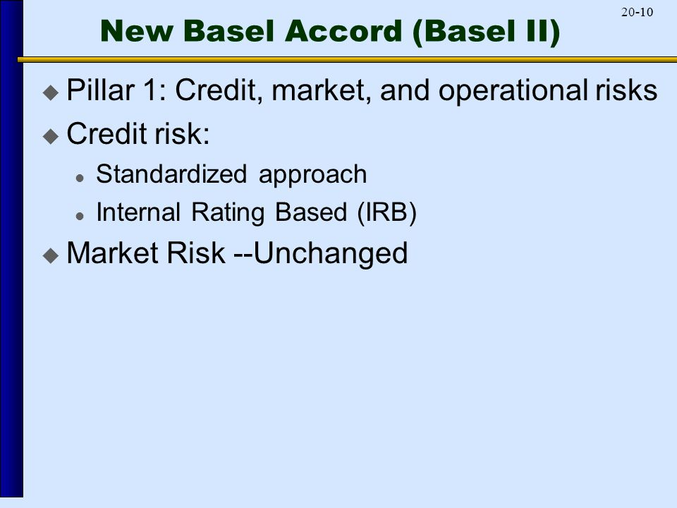 -1020-10 New Basel Accord (Basel II)  Pillar 1: Credit, market, and operational risks  Credit risk: Standardized approach Internal Rating Based (IRB)  Market Risk --Unchanged