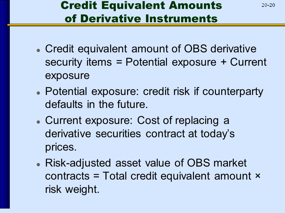 -2020-20 Credit Equivalent Amounts of Derivative Instruments Credit equivalent amount of OBS derivative security items = Potential exposure + Current exposure Potential exposure: credit risk if counterparty defaults in the future.