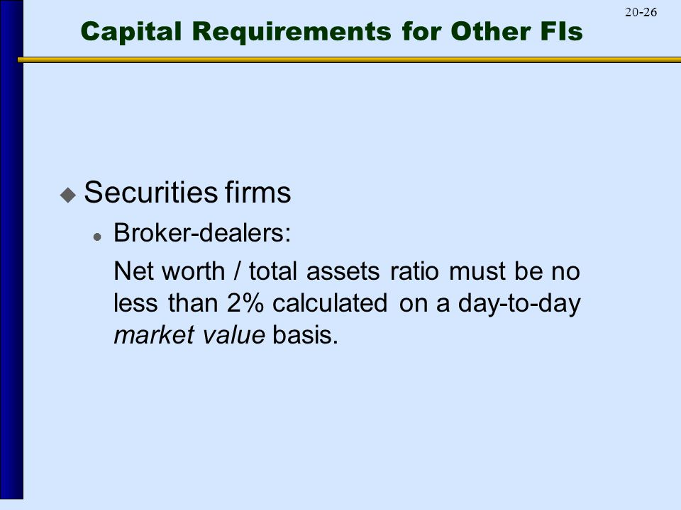 -2620-26 Capital Requirements for Other FIs  Securities firms Broker-dealers: Net worth / total assets ratio must be no less than 2% calculated on a day-to-day market value basis.