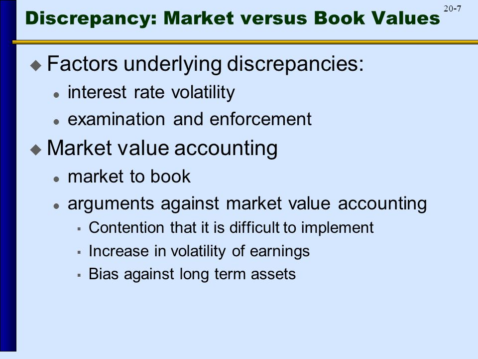 -720-7 Discrepancy: Market versus Book Values  Factors underlying discrepancies: interest rate volatility examination and enforcement  Market value accounting market to book arguments against market value accounting  Contention that it is difficult to implement  Increase in volatility of earnings  Bias against long term assets