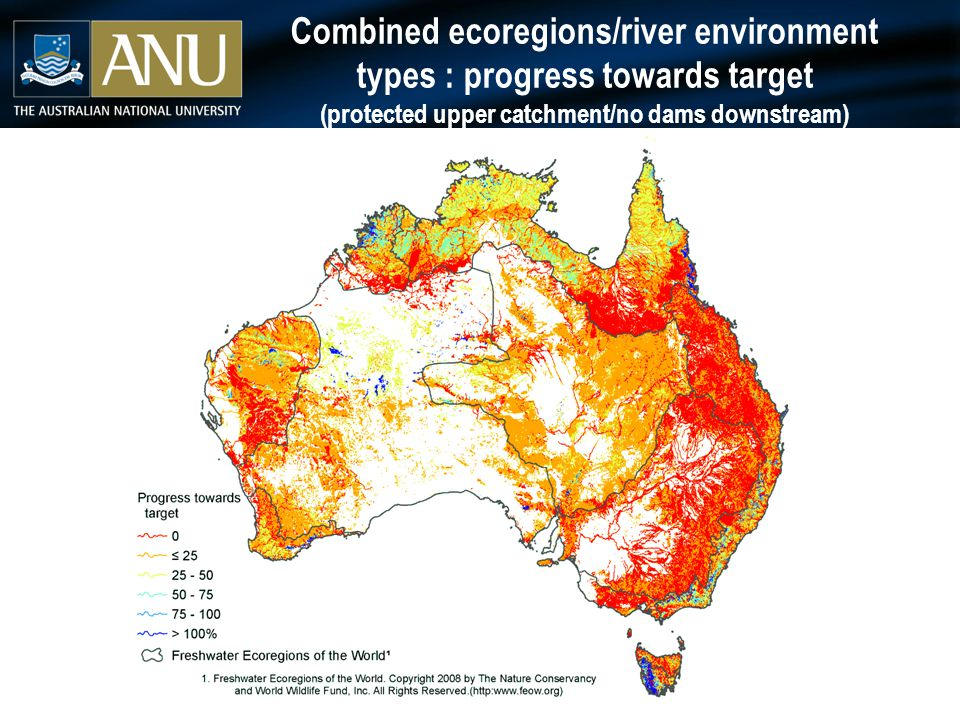 Combined ecoregions/river environment types : progress towards target (protected upper catchment/no dams downstream)