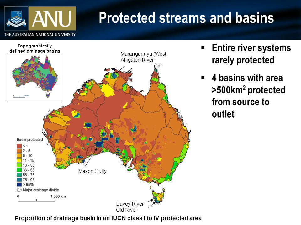Protected streams and basins  Entire river systems rarely protected  4 basins with area >500km 2 protected from source to outlet Proportion of drainage basin in an IUCN class I to IV protected area Davey River Old River Marangarrayu (West Alligator) River Mason Gully Topographically defined drainage basins