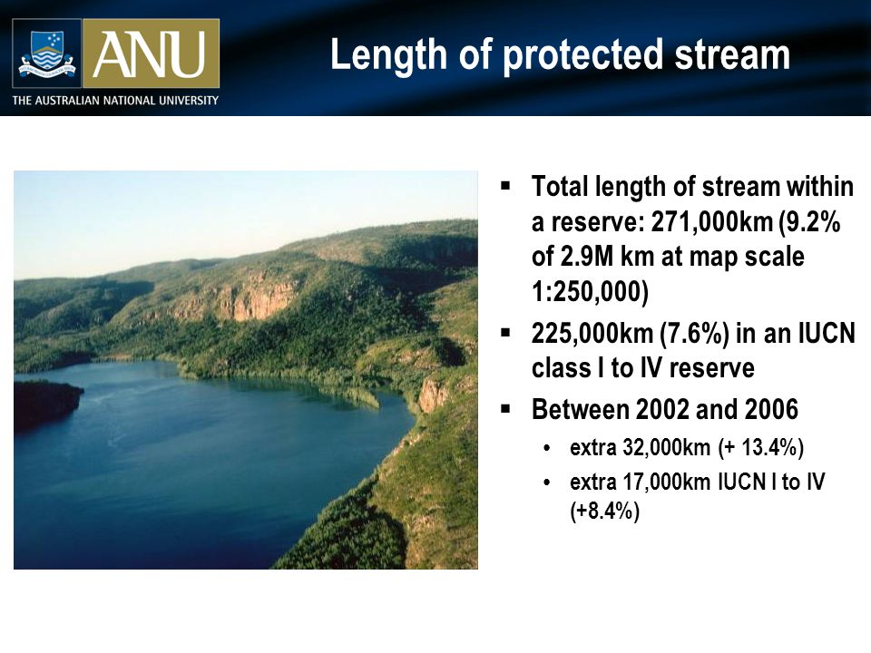 Protected rivers and streams  Medium size streams (creeks) under represented  Much of reserved length potentially threatened by major instream barriers and/or has unprotected headwater sections  New reserves not fully protecting streams