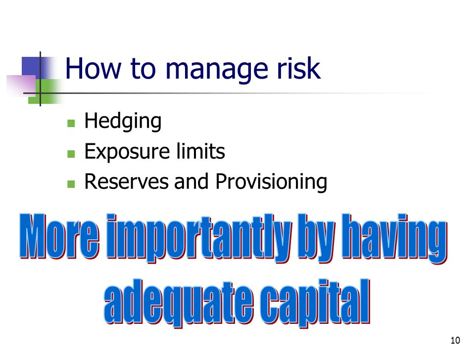 10 How to manage risk Hedging Exposure limits Reserves and Provisioning