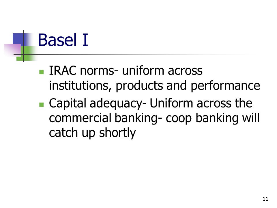 11 Basel I IRAC norms- uniform across institutions, products and performance Capital adequacy- Uniform across the commercial banking- coop banking will catch up shortly