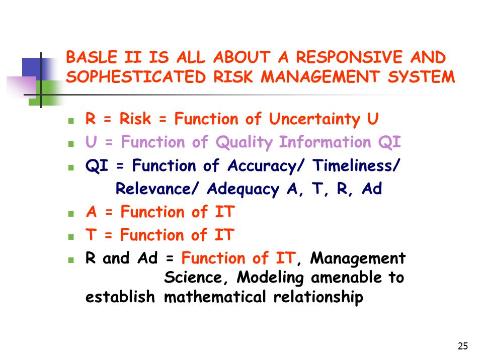25 BASLE II IS ALL ABOUT A RESPONSIVE AND SOPHESTICATED RISK MANAGEMENT SYSTEM R = Risk = Function of Uncertainty U U = Function of Quality Information QI QI = Function of Accuracy/ Timeliness/ Relevance/ Adequacy A, T, R, Ad A = Function of IT T = Function of IT R and Ad = Function of IT, Management Science, Modeling amenable to establish mathematical relationship