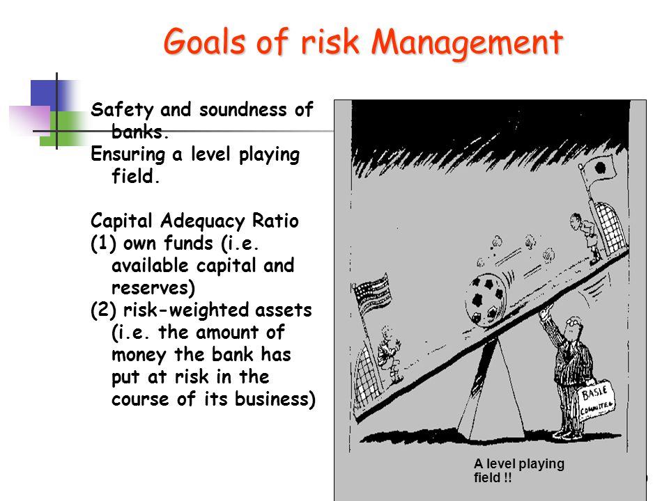 9 Source: BIS Goals of risk Management Goals of risk Management Safety and soundness of banks.