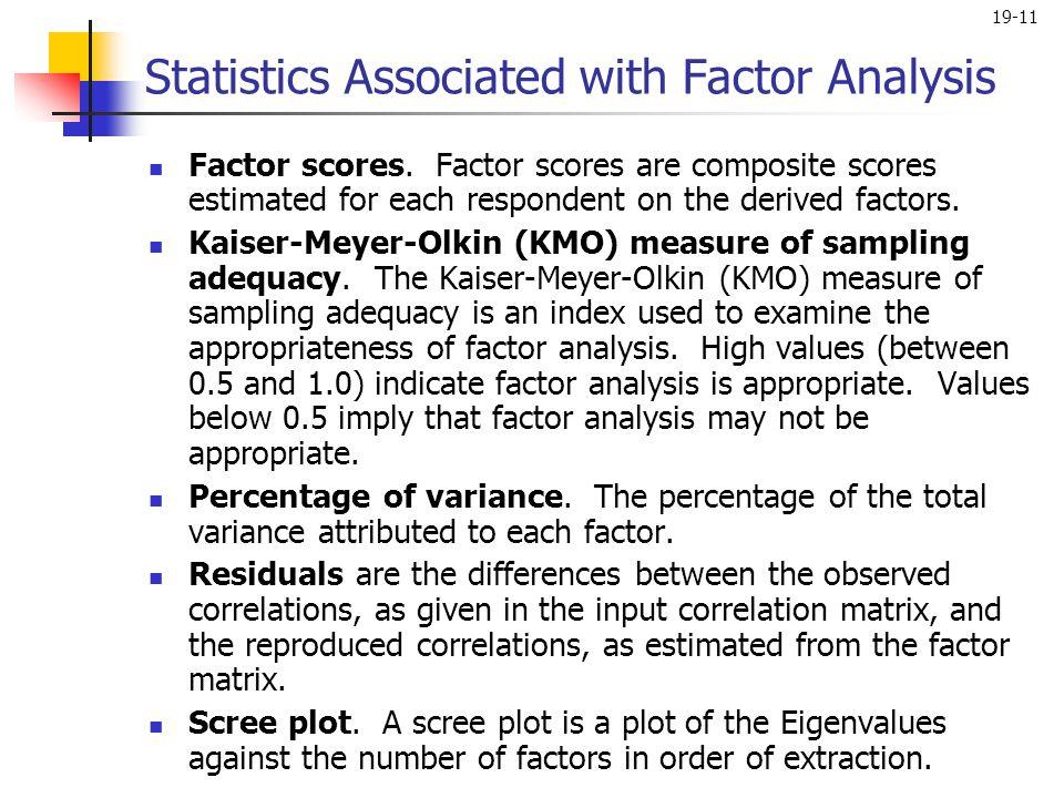 19-11 Factor scores. Factor scores are composite scores estimated for each respondent on the derived factors. Kaiser-Meyer-Olkin (KMO) measure of samp