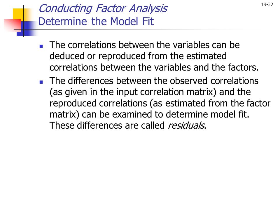 19-32 The correlations between the variables can be deduced or reproduced from the estimated correlations between the variables and the factors. The d