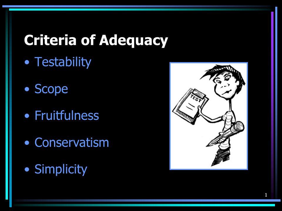1 Criteria of Adequacy Testability Scope Fruitfulness Conservatism Simplicity