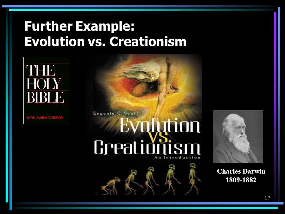 17 Further Example: Evolution vs. Creationism Charles Darwin 1809-1882