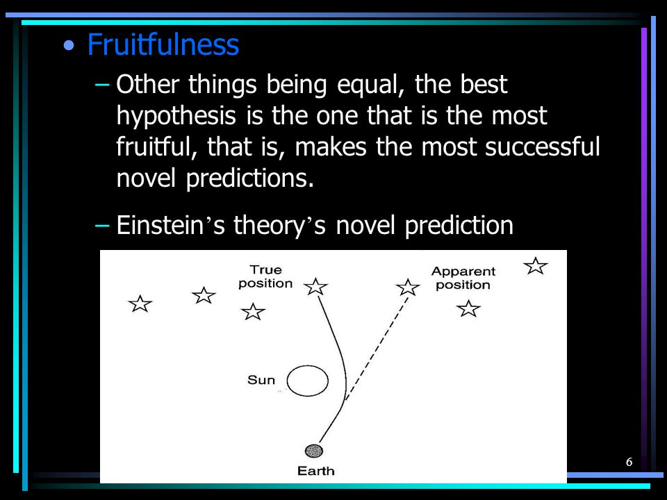 6 Fruitfulness –Other things being equal, the best hypothesis is the one that is the most fruitful, that is, makes the most successful novel predictio