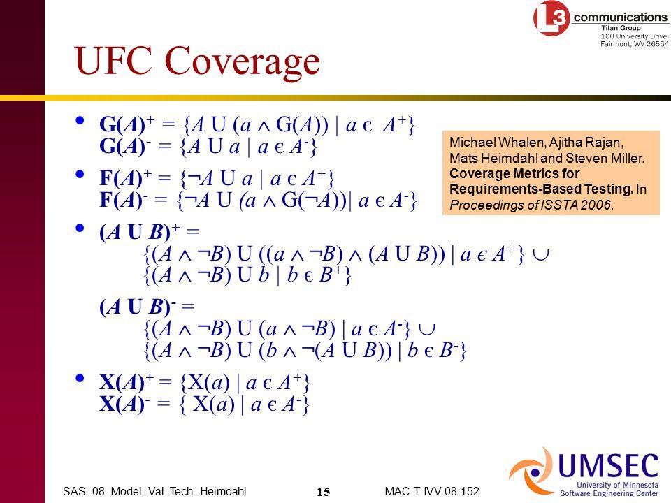 15 MAC-T IVV-08-152SAS_08_Model_Val_Tech_Heimdahl UFC Coverage G(A) + = {A U (a  G(A)) | a є A + } G(A) - = {A U a | a є A - } F(A) + = {¬A U a | a є A + } F(A) - = {¬A U (a  G(¬A))| a є A - } (A U B) + = {(A  ¬B) U ((a  ¬B)  (A U B)) | a є A + }  {(A  ¬B) U b | b є B + } (A U B) - = {(A  ¬B) U (a  ¬B) | a є A - }  {(A  ¬B) U (b  ¬(A U B)) | b є B - } X(A) + = {X(a) | a є A + } X(A) - = { X(a) | a є A - } Michael Whalen, Ajitha Rajan, Mats Heimdahl and Steven Miller.