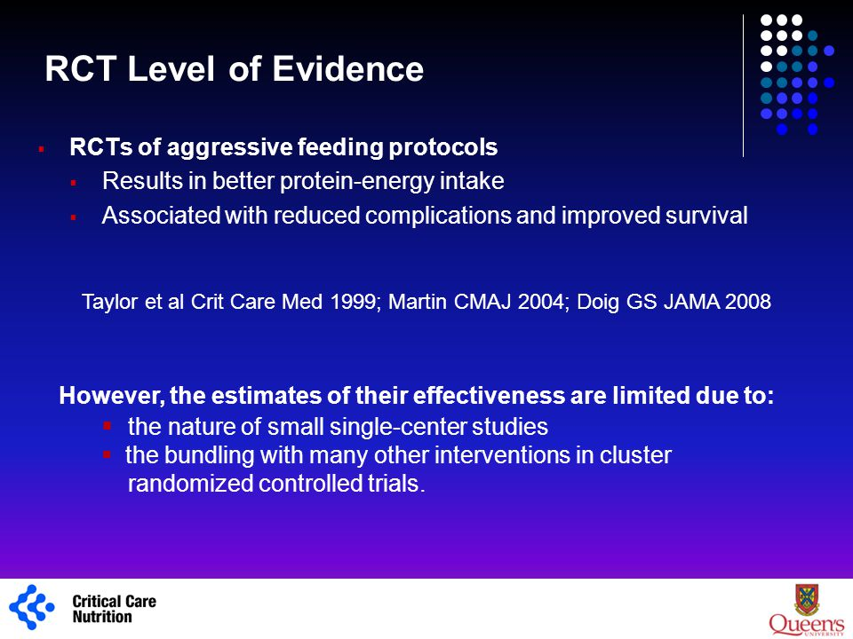 RCT Level of Evidence  RCTs of aggressive feeding protocols  Results in better protein-energy intake  Associated with reduced complications and imp