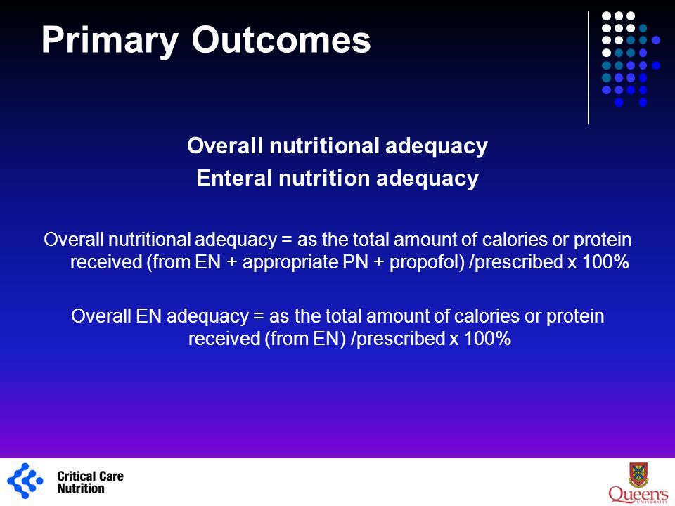 Primary Outcomes Overall nutritional adequacy Enteral nutrition adequacy Overall nutritional adequacy = as the total amount of calories or protein rec