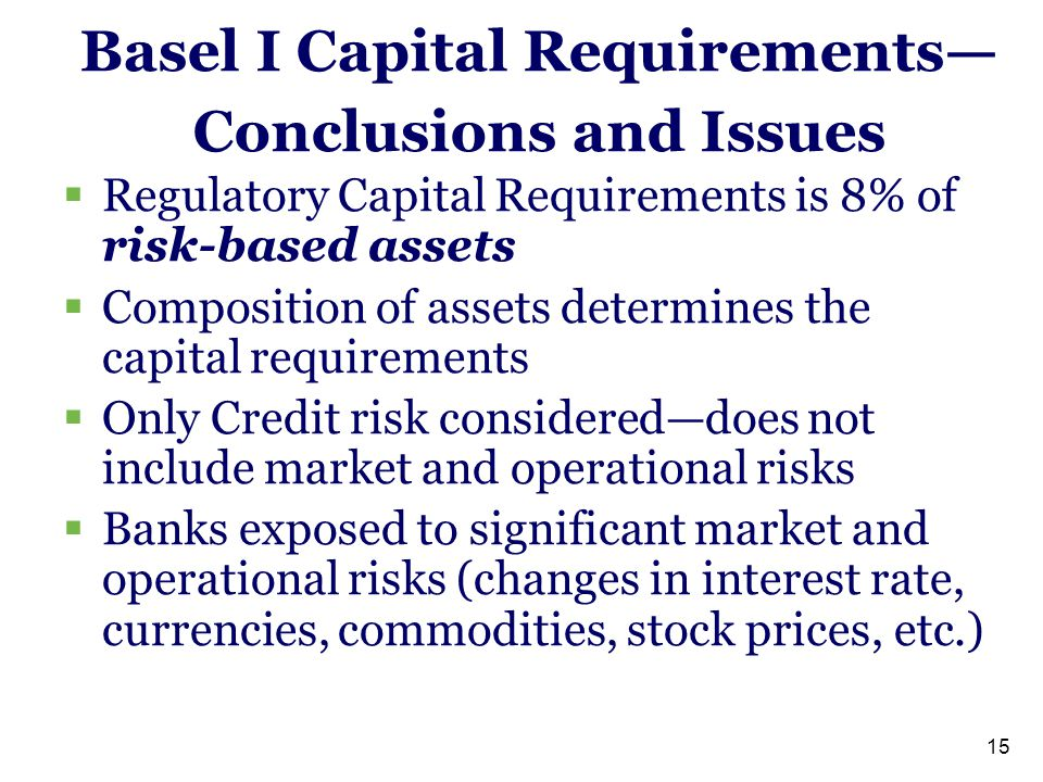 15 Basel I Capital Requirements— Conclusions and Issues  Regulatory Capital Requirements is 8% of risk-based assets  Composition of assets determine