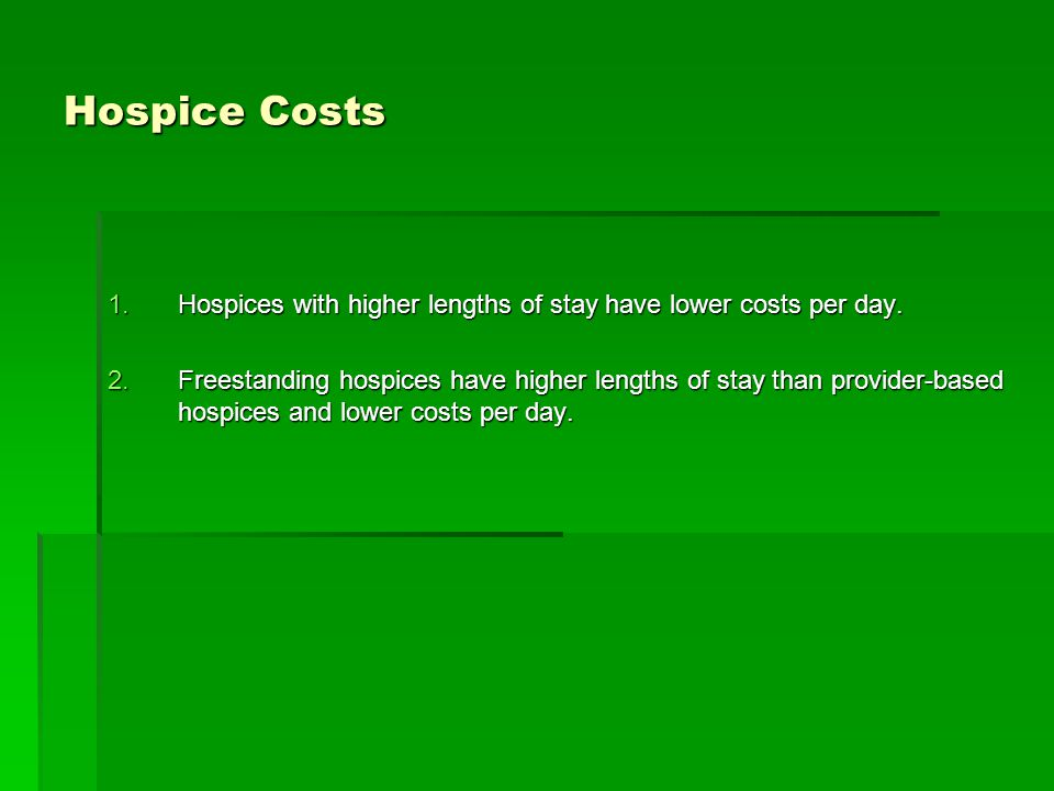 Hospice Costs 1.Hospices with higher lengths of stay have lower costs per day.