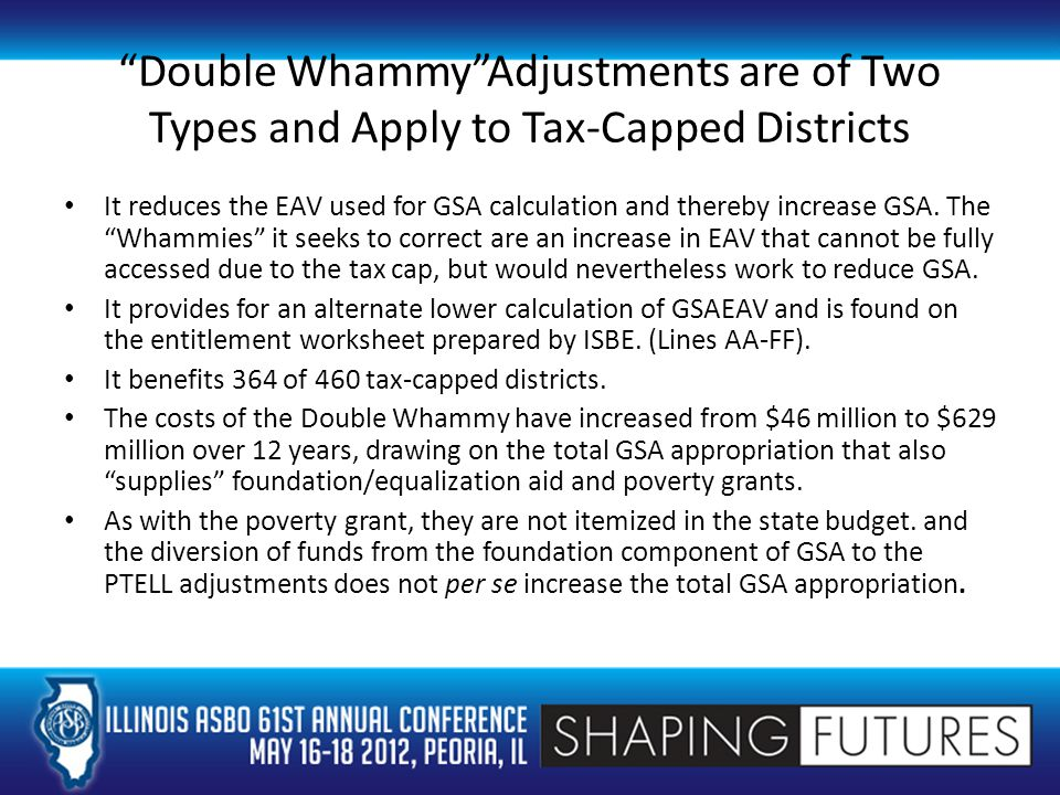 Double Whammy Adjustments are of Two Types and Apply to Tax-Capped Districts It reduces the EAV used for GSA calculation and thereby increase GSA.